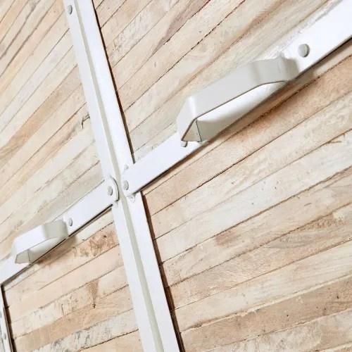 armoire en metal blanc et bois recycles maisons du monde