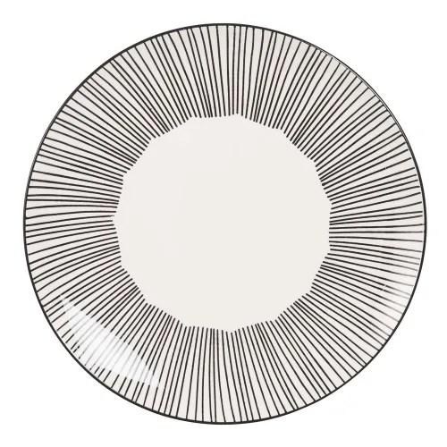 assiette plate en faience blanche motifs a rayures maisons du monde