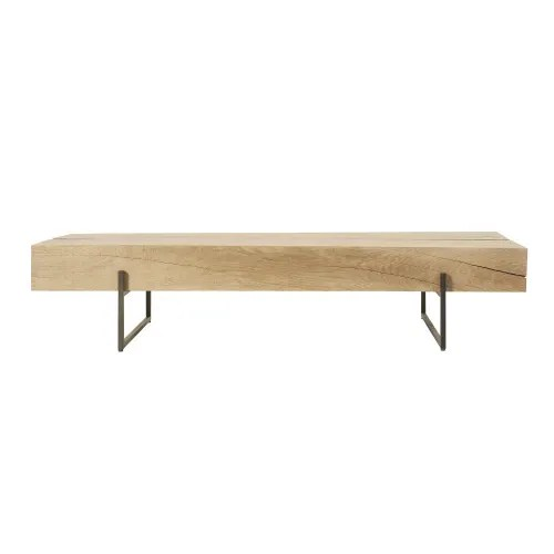 black metal and solid oak coffee table maisons du monde