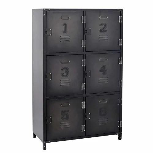 cabinet de rangement indus 6 casiers en metal maisons du monde