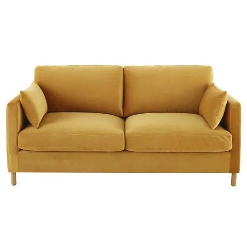canape lit 3 places en velours jaune moutarde matelas 10 cm maisons du monde