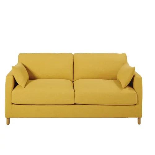 canape lit 3 places jaune moutarde matelas 10 cm maisons du monde