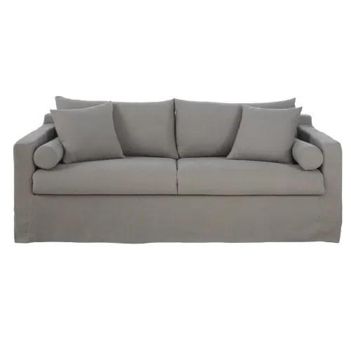 canape lit 4 places en lin gris clair maisons du monde