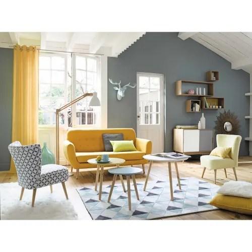 canape style scandinave 2 3 places jaune maisons du monde