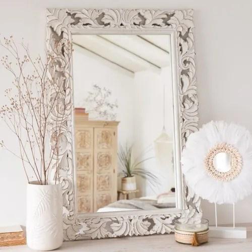 carved white mango wood mirror 60x90 maisons du monde