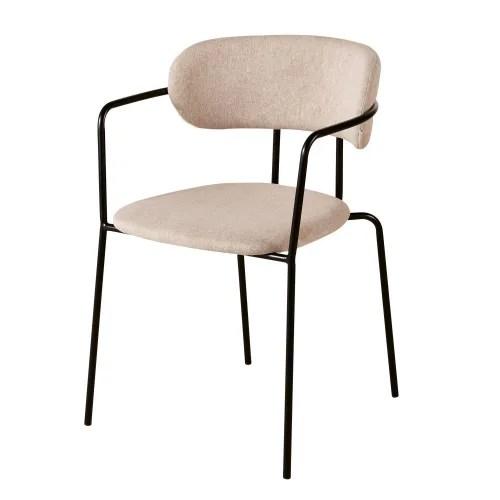 chaise beige et metal noir mat maisons du monde