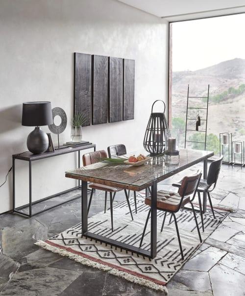 chaise capitonnee en cuir de buffle marron et metal noir maisons du monde