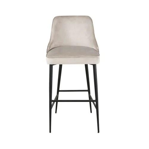 chaise de bar professionnelle vintage en velours taupe et metal noir maisons du monde