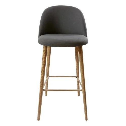 chaise de bar vintage gris anthracite et frene maisons du monde