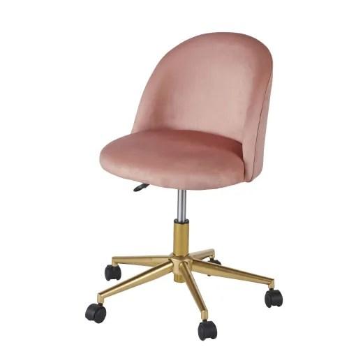 chaise de bureau vintage a roulettes en velours rose maisons du monde