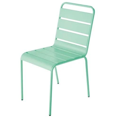 chaise de jardin en metal bleu turquoise maisons du monde