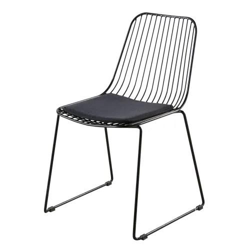 chaise en metal et coton noirs maisons du monde