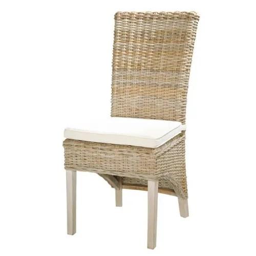 chaise en rotin kubu et mahogany massif maisons du monde