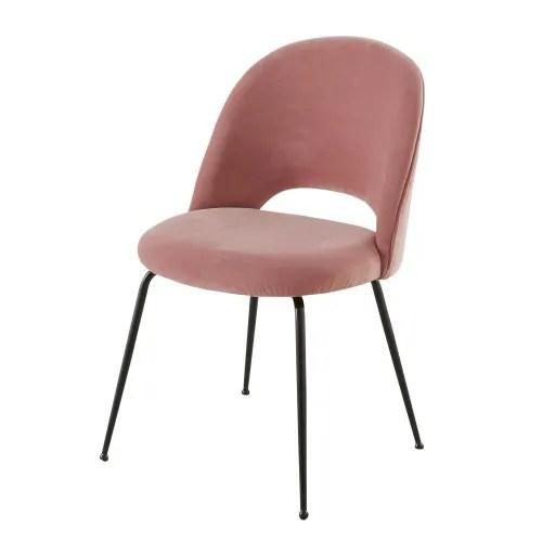 chaise en velours rose et metal noir maisons du monde