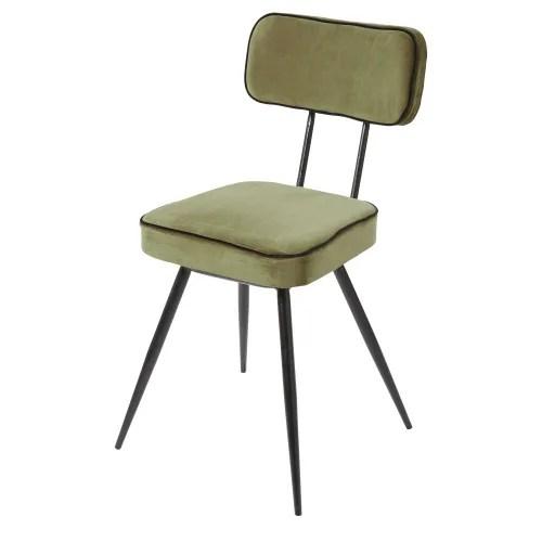 chaise en velours vert kaki et metal noir maisons du monde