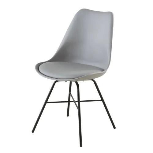 chaise grise et pieds en metal noir maisons du monde
