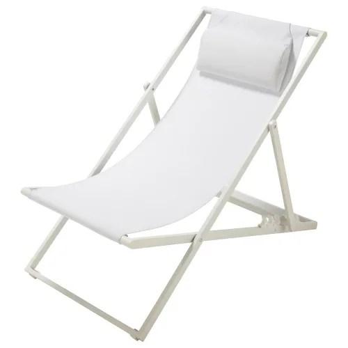 chaise longue chilienne pliante en metal blanc maisons du monde