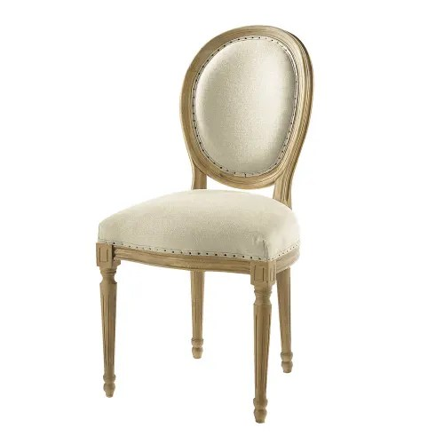 chaise medaillon en lin et chene massif maisons du monde