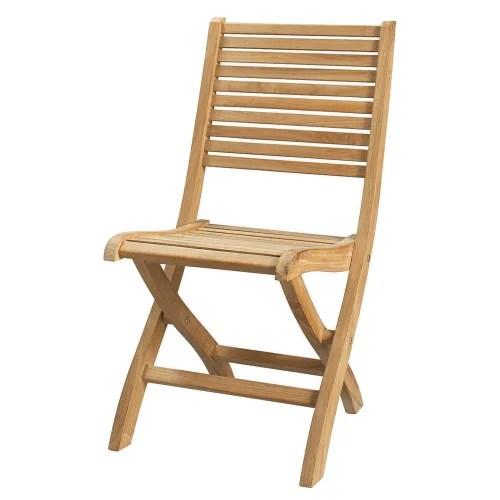 chaise pliante de jardin en teck massif maisons du monde