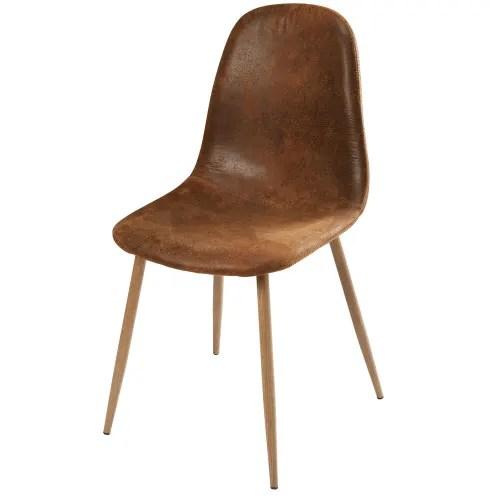 chaise style scandinave en microsuede marron vieilli maisons du monde
