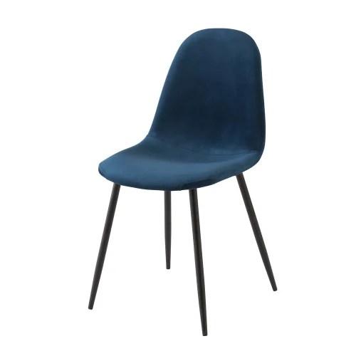 chaise style scandinave en velours bleu maisons du monde