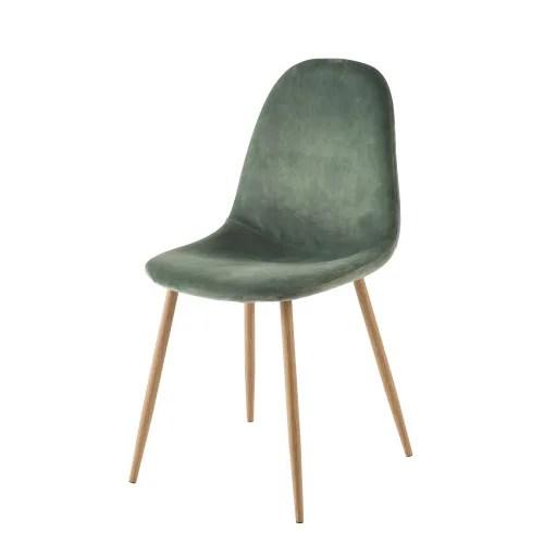 chaise style scandinave en velours vert maisons du monde