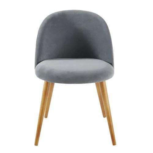 chaise vintage en velours gris anthracite et bouleau massif maisons du monde