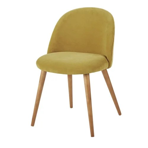 chaise vintage en velours jaune et bouleau massif maisons du monde