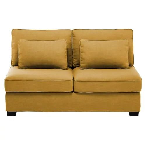 chauffeuse de canape 2 places jaune moutarde maisons du monde