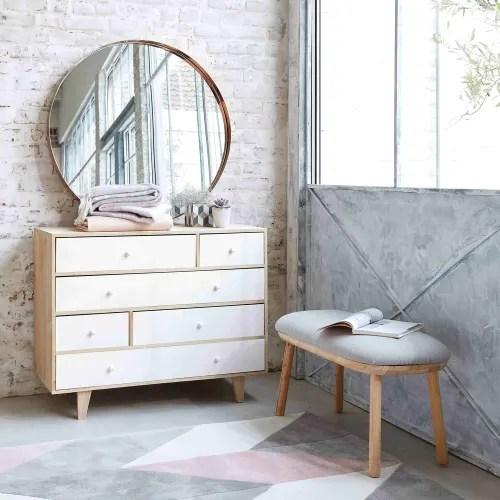 commode style scandinave 6 tiroirs en paulownia blanc maisons du monde