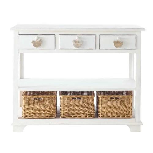 console 3 tiroirs 3 paniers blanche maisons du monde