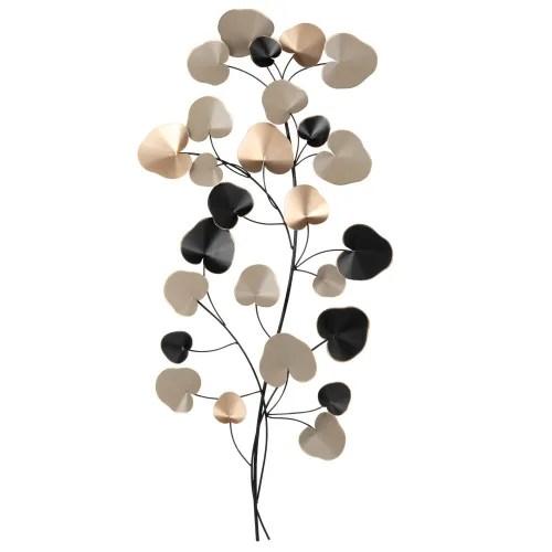 Bonamaison appendere a parete arazzo da parete 3d arazzo, appeso a parete, decorazione della parete, decorazione per la casa, taglia: Decorazione Da Parete Fronde In Metallo Tricolore 40x94 Cm Eucaly Maisons Du Monde