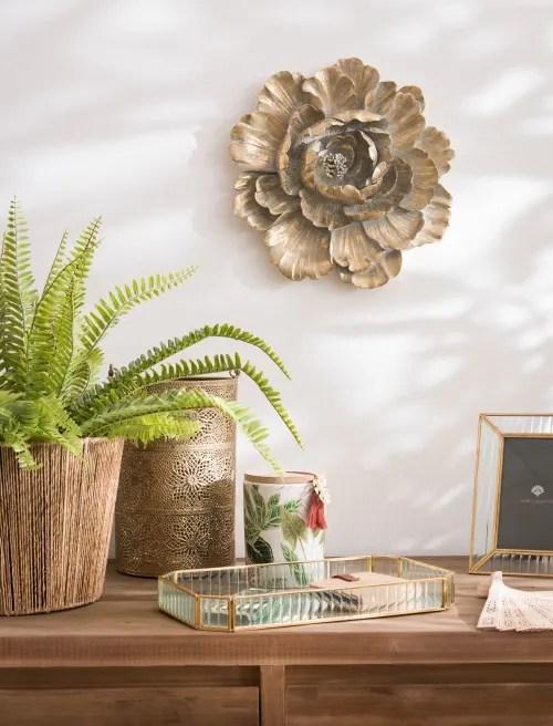 29 migliori idee per la decorazione della parete della sala. Decorazione Murale Fiore Dorato 31x30 Cm Daoya Maisons Du Monde