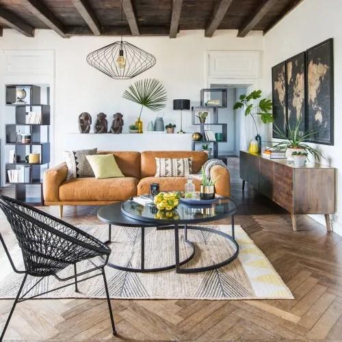 Accompagnato da due cuscini supplementari, questo divano. Divano Vintage 3 4 Posti In Pelle Color Cammello Sophia Maisons Du Monde