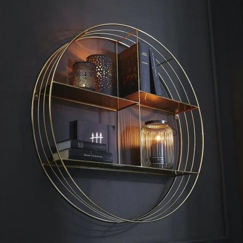 etagere murale ronde en metal dore maisons du monde