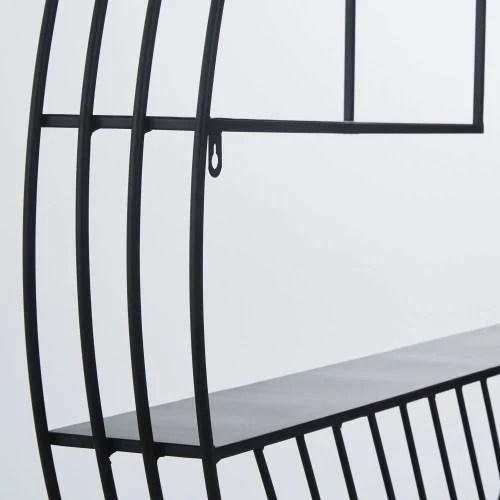 etagere murale ronde en metal filaire noir maisons du monde