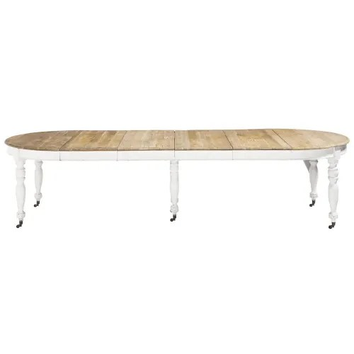extendible 6 14 seater dining table on castors l 125 325 maisons du monde