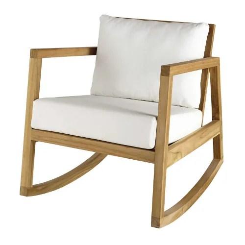 fauteuil a bascule en teck et coussins blancs maisons du monde