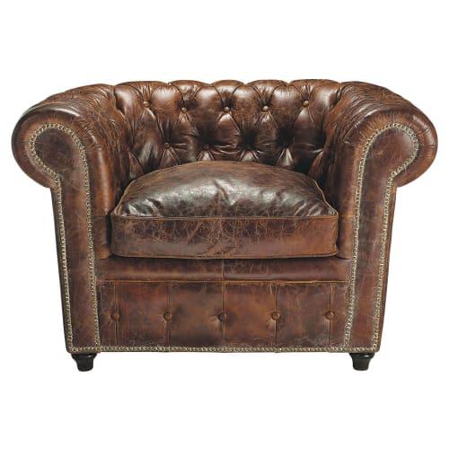 fauteuil capitonne en cuir marron maisons du monde