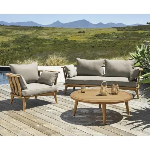 fauteuil de jardin en acacia massif et coussins taupe maisons du monde