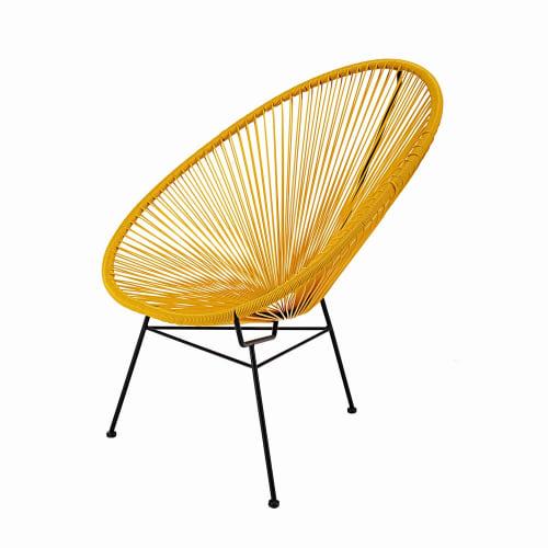 fauteuil de jardin rond jaune moutarde maisons du monde