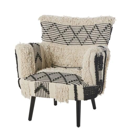 fauteuil en coton tresse motifs ivoire et noirs maisons du monde