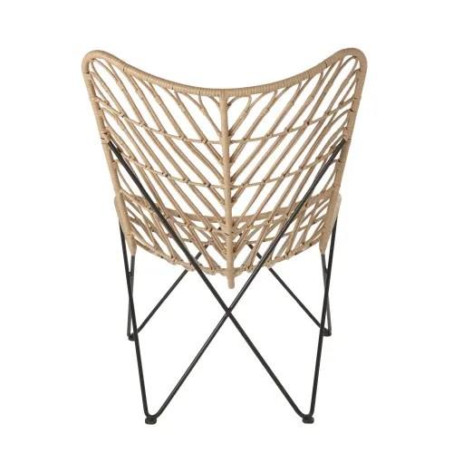 fauteuil papillon de jardin en resine imitation rotin et metal noir maisons du monde