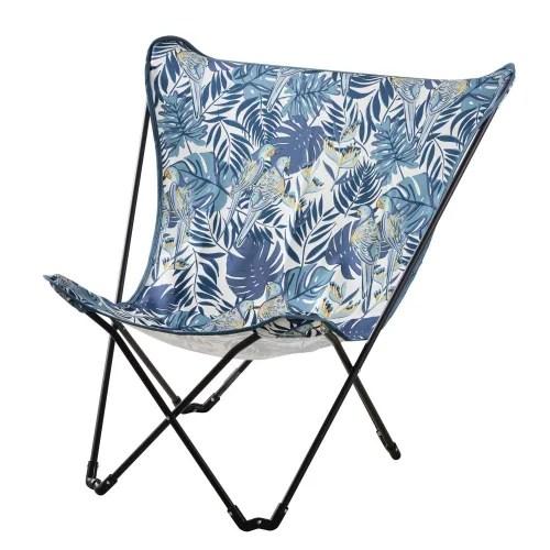 fauteuil papillon de jardin pliant en metal noir et toile bleue imprimee maisons du monde