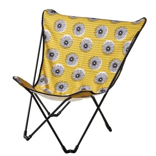 fauteuil papillon de jardin pliant en metal noir et toile jaune imprimee maisons du monde