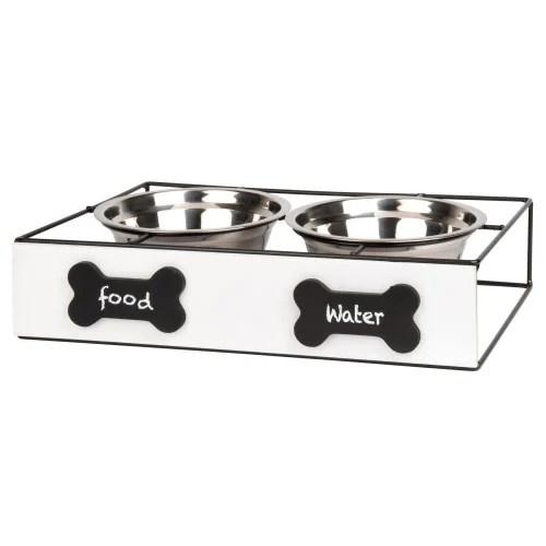 gamelles pour chien en inox x2 avec support en pin blanc et metal noir maisons du monde