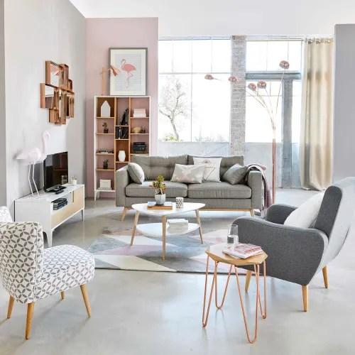 getufteter teppich mit grauen und rosa grafischen motiven 140x200 maisons du monde