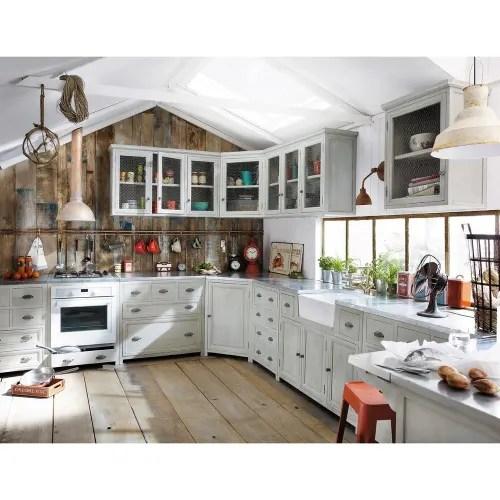 grey acacia wood kitchen wall corner cabinet w76 maisons du monde