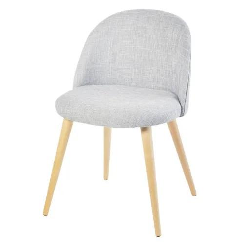 Hellgrau Melierter Stuhl Im Vintage Stil Und Birkenholz Mauricette Maisons Du Monde