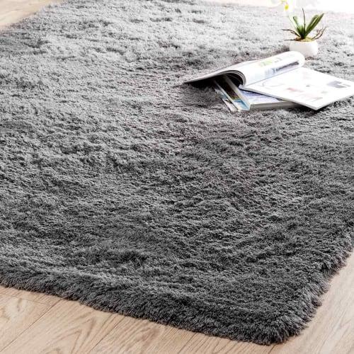 hochflor teppich aus stoff 140 x 200 cm grau maisons du monde